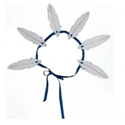 Couronne à colorier Plumes avec un ruban Blanc