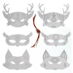 Pack 6 masques à colorier SIOUX