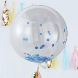 3 ballons géants dirigeable confettis bleues