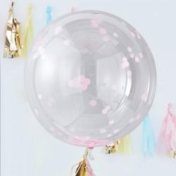 3 ballons géants dirigeable confettis roses