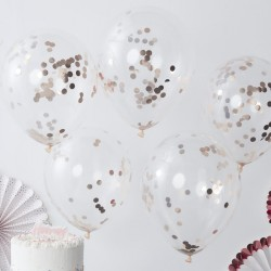 5 ballons confettis or rose