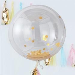 3 ballons géants dirigeable confettis or
