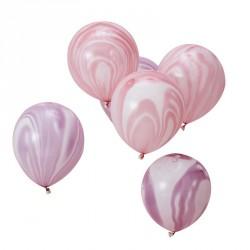 10 ballons marbrés rose et lavande