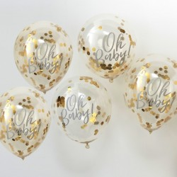 5 ballons Oh baby confettis or