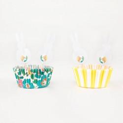Kit cupcake Pâques liberty vert et jaune lapin