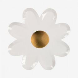 8 assiettes fleur Margherite blanche