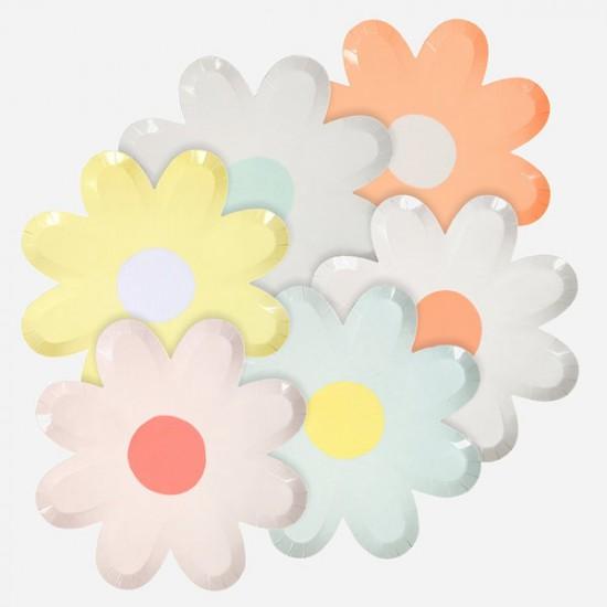 8 assiettes fleur Marguerite pastel