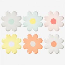 12 assiettes canapé fleur margherite pastel