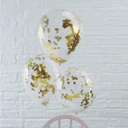 5 ballons confettis or