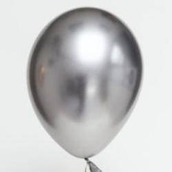 Ballon uni chrome argent