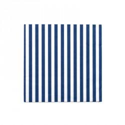 20 Serviettes bleu lignées blanc 33x33cm