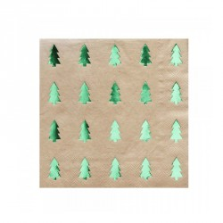 20 serviettes  sapin vert métalisé