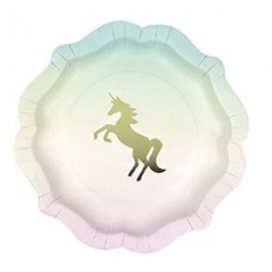 12 assiettes - Licorne pastel et or