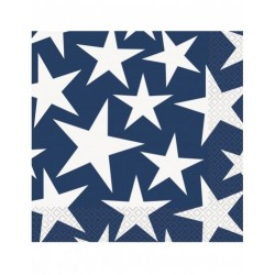 16 serviettes bleues étoiles blanches