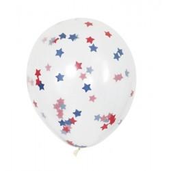 5 ballons 40 cm  transparents confettis étoiles