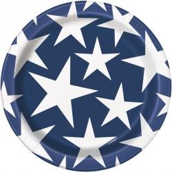 8 petites assiettes bleues étoiles blanches