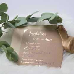 10 invitations Kraft et or  et enveloppes