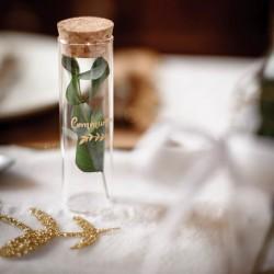 1 fiole verre bouchon de liège Communion 3x10 cm