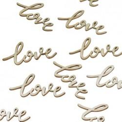 25 confettis love en bois
