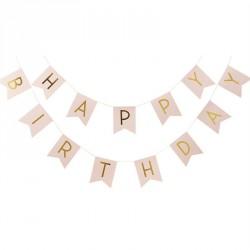 Guirlande Happy Birthday - Fanions rose et or