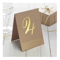 Numéro de table de 1 à 12 - Kraft et or