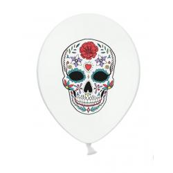6 ballons blancs Dia de Los Muertos