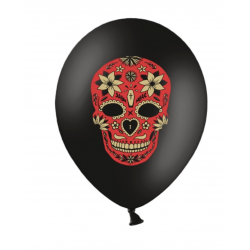 6 ballons noirs dia de Los Muertos