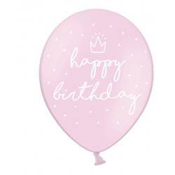 "6 ballons ""Happy Birthday"" - Rose"