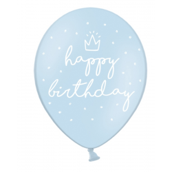 "6 ballons ""Happy Birthday"" - Bleu"