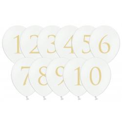11 ballons chiffre 1 à 10 - Blanc