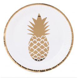 8 assiettes ananas or