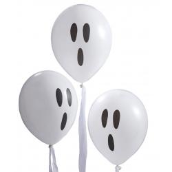 10 ballons fantôme avec tissu blanc