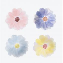 8 petites assiettes fleurs pastels
