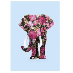 Carte éléphant fleuri