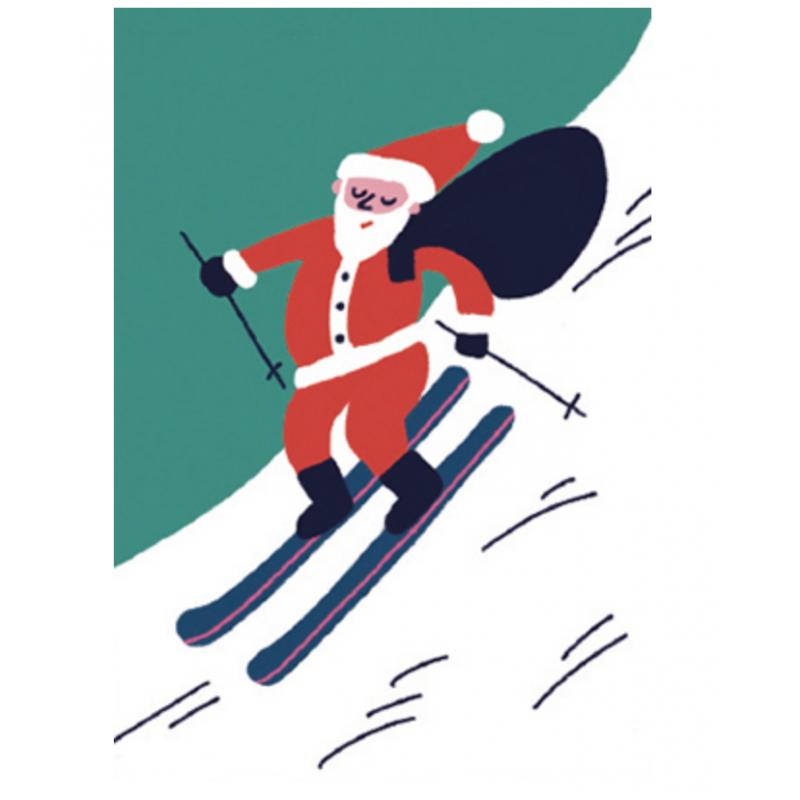 Image Pere Noel En Ski.Carte Pere Noel Ski