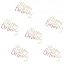 Pack de confettis Happy Birthday iridescent