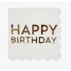 16 serviettes Happy Birthday doré