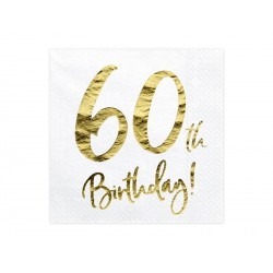 20 serviettes 60th Happy Birthday