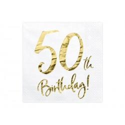 20 serviettes 50th Happy Birthday
