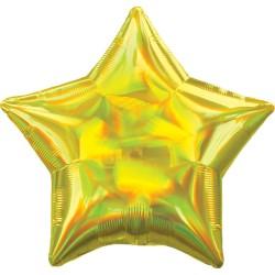 Ballon mylar étoile - jaune holographique