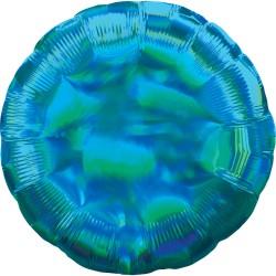 Ballon mylar rond - bleu holographique