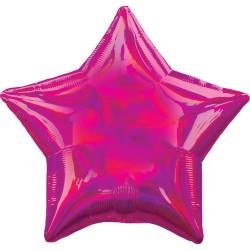 Ballon mylar étoile - Fuchsia holographique