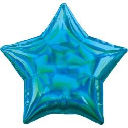 Ballon mylar étoile - Bleu holographique