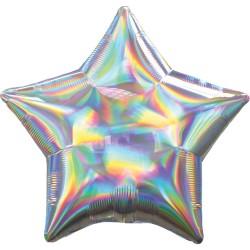 1 ballon mylar étoile argent holographique