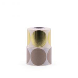 10 stickers - rond 6cm - or métallique
