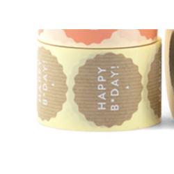 10 stickers - Happy B*day 5cm - Kraft