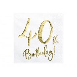 20 serviettes 40th Happy Birthday