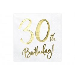 20 serviettes 30th Happy birthday