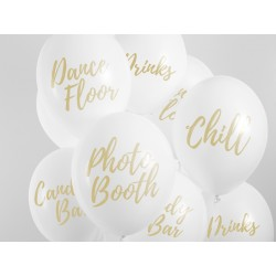 5 ballons - Candy Bar, Chill, Dance Floor, Drinks, Photo Booth - Blanc