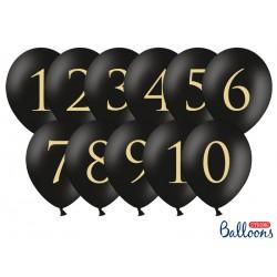 11 ballons chiffre 1 à 10 - Noir